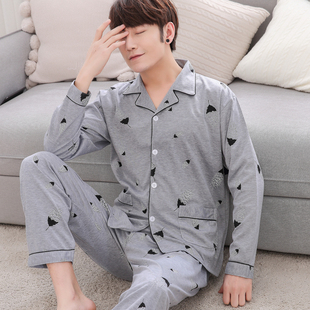 男士睡衣夏中年爸爸长袖开衫纯棉宽松大码春秋季中老年人老人套装