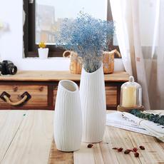 简约现代小清新干花瓶摆件客厅家居白色日式陶瓷文艺水培花器包邮