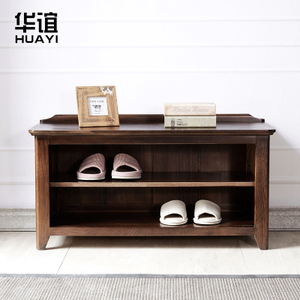 华谊美式鞋凳 实木黑胡桃色换鞋凳进门凳 红橡木储物鞋柜式矮凳1