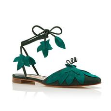 韩版新款包头绿叶中空凉鞋女夏2017方头浅口蝴蝶结绑带平底鞋单鞋