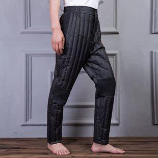 加肥加大羽绒裤男特大码内穿修身显瘦超轻薄护膝白鸭绒外穿中老年