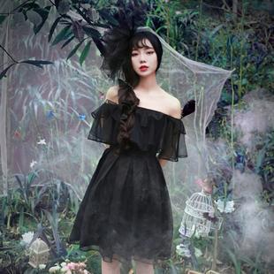诺里 乌鸦与鸢尾 暗黑哥特风洛丽塔中长款显瘦露肩一字领连衣裙夏