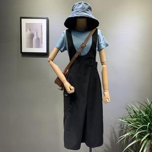 依茸国际8085港味斜口设计感显瘦西装背带裙女2019夏款纯色裙女款