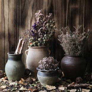 复古土陶陶罐粗陶摆件陶罐花盆仿古干花花瓶花器客厅点缀落地陶罐