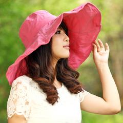 女士帽子 夏天 女 韩版防晒帽沙滩帽防紫外线遮阳帽太阳帽平沿帽