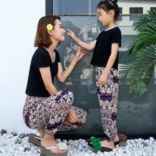 人造棉绸花沙滩长裤女裤子夏季绵绸哈伦亲子母女装九分泰国灯笼裤