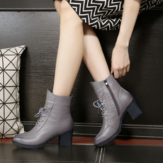 春秋新款真皮粗跟短靴休闲高跟单靴系带洞洞女鞋圆头灰色镂空女靴