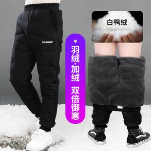 男童羽绒裤外穿儿童棉裤加厚男孩裤子加绒2018冬季新款中大童长裤