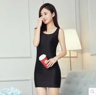 韩版夏季休闲包臀背心中长款修身显瘦无袖连衣裙夜店紧身性感女潮