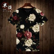 中国风牡丹花日系潮牌夏季男士T恤短袖半袖男装大码t恤男短袖衣服