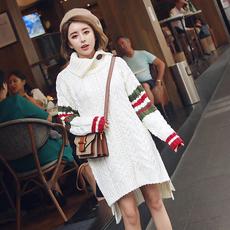 秋冬中长款大毛衣裙前短后长甜美宽松翻领麻花加厚套头针织外套女