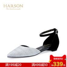 哈森 春季尖头中空平跟女凉鞋一字扣带低跟平底鞋HM71429
