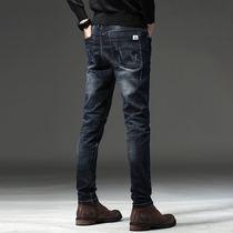 小脚靴裤 加绒牛仔裤 秋冬韩版 潮流修身 男士 弹力加厚青年黑色男裤
