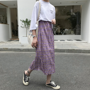 夏季韩版复古褶皱小清新百搭棉麻格子半身裙女学生高腰显瘦中长裙