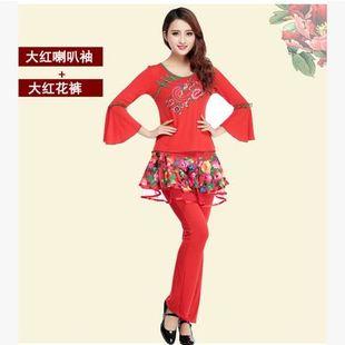 韩国夏季喇叭袖裙裤裙子杨丽萍中老年演出服绣花广场舞服装新款套