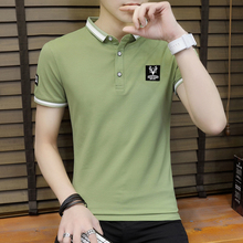 Summer new short sleeved t-shirt men wear collar men's clothing, teenage cotton blouse, half sleeved trend, T, T-shirt.