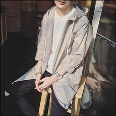 夏季户外防晒衣男韩版学生外套超薄透气中长款青少年男士连帽长袖