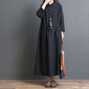棉麻连衣裙秋2019春新款宽松大码遮肚显瘦韩版长袖亚麻中长衬衫裙