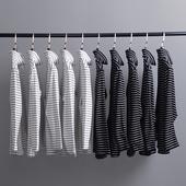 韩国ulzzang体恤原宿复古简约黑白条纹高领长袖T恤GD款情侣打底衫