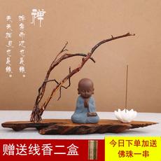 紫砂茶宠禅意小和尚线香炉茶具配件家居客厅办公树根艺术摆件包邮