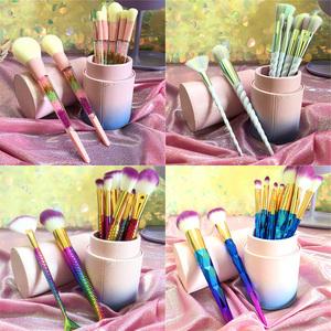 10支化妆刷套刷带收纳筒渐变色独角兽螺旋炫彩初学者全套美妆工具