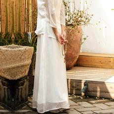 白色雪纺阔腿裤女夏中国风文艺复古裙裤瑜伽长裤宽松大码宽腿裤子