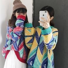 实拍复古几何图案中长款宽松百搭拼色条纹针织毛衣 实价