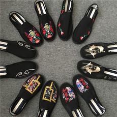 西山手工布鞋男社会小布鞋牛筋底刺绣帆布鞋中国风懒人鞋套脚鞋潮