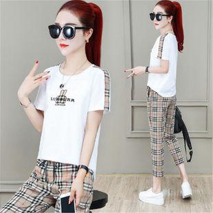 运动套装女夏装新款韩版时尚含棉短袖T恤+休闲七分裤/短裤两件套