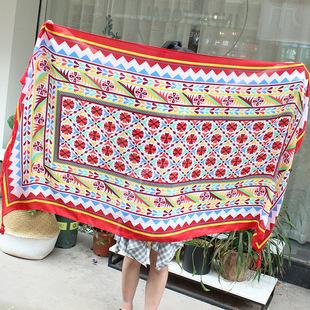 波西米亚民族风齿轮花卉印花棉麻围巾女夏季旅行装饰丝巾防晒披肩