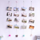 明信片墙面装 复古个性 饰麻绳夹子藤球DIY店铺家居壁饰挂饰照片墙