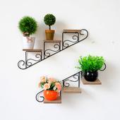 美式墙上花架置物架家居装 饰架铁艺悬挂花盆架免打孔墙面壁饰壁挂