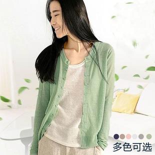 新款空調衫針織衫女開衫夏季短款亞麻長袖防曬衣薄款外搭棉麻外套