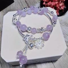 天然紫水晶饰品女薰衣草显白甜美手链女时尚韩版女手串多层S925银