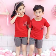Children's wear new style 2019 cotton children's short sleeve suit, children's two-piece household suit, boys'and girls' T