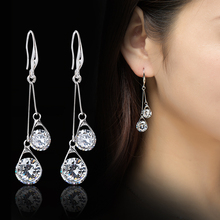 S925 silver long tassel eardrop temperament South Korea Crystal Drop Pendant Earrings, women fashion tramway ear Thread Earrings