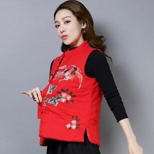 韩国代购中式唐装马甲女加厚冬装复古盘扣绣花棉麻短款夹棉民族风
