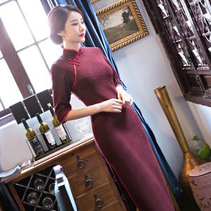 旗袍毛呢中长袖连衣裙改良秋冬长款复古日常红色礼服修身加厚中式秀禾服