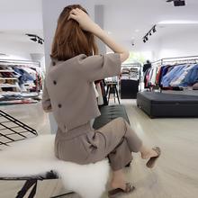 洋气休闲时髦阔腿裤 新款 精神套装 欧洲站2018夏装 欧货潮气质时尚