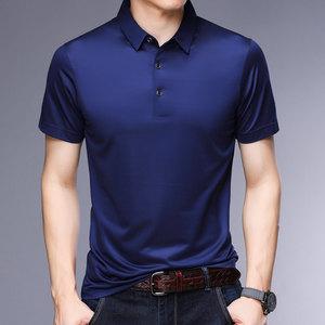 夏季新款男士真丝短袖t恤中年半袖翻领上衣<span class=H>男装</span>桑蚕丝纯色polo衫