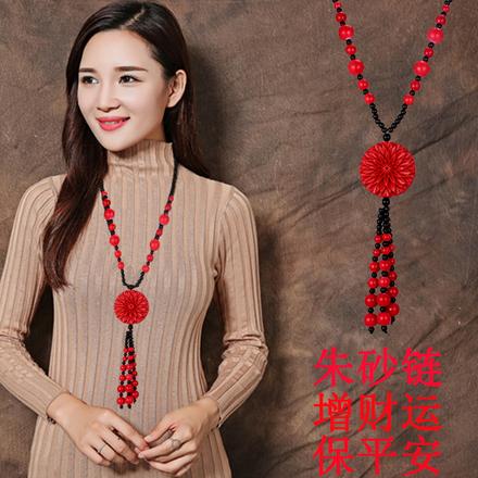 复古民族风天然正品朱砂漆雕红长款毛衣链时尚百搭项链花朵饰品女