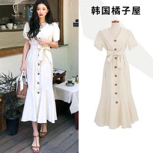 韩国夏法式复古V领纯色短袖鱼尾单排扣棉麻连衣裙收腰系带中长款