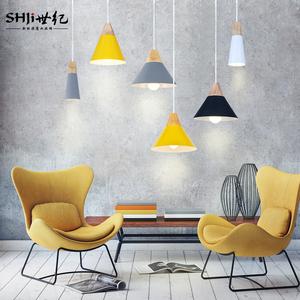 北欧个性创意餐厅吧台吊灯简约LED三头实木铝材艺术欧式小吊灯具餐厅吊灯