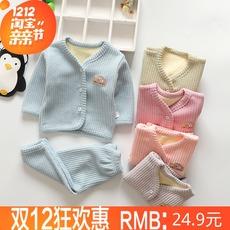 儿童加厚婴儿保暖内衣宝宝套装对襟幼儿男女宝宝0-1-2岁加绒套装