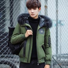 冬装新款羽绒服男韩版修身短款加厚大毛领帅气青年学生连帽外套潮