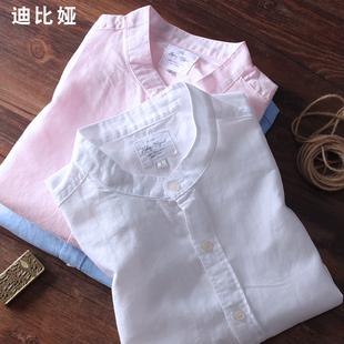 亚麻衬衫男短袖白色立领棉麻男春夏圆领亚麻长袖衬衣大码男薄款M