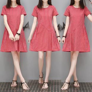 拼接条纹棉麻连衣裙女夏新品短款短袖圆领简单冷淡风小个子短裙子