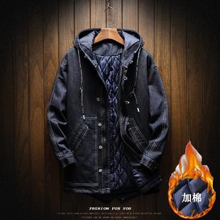 春季加厚中长款牛仔风衣男潮胖宽松大码加棉棉衣学生连帽保暖外套