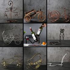 家用客厅欧式红酒架创意葡萄酒架子复古铁艺摆件时尚简约红酒瓶架