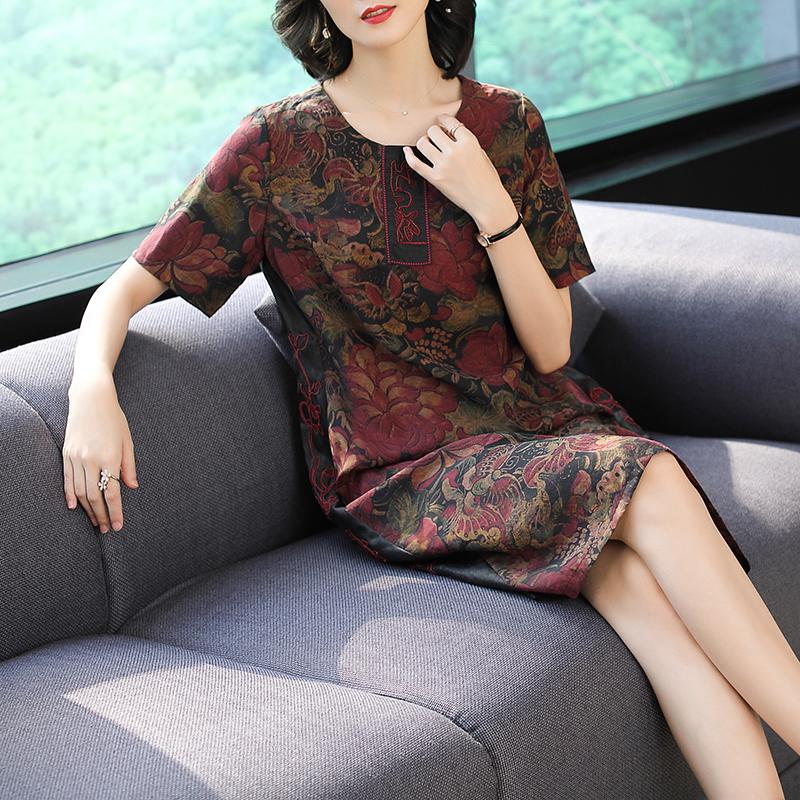 反季香云纱真丝连衣裙女2018新款夏装高端大码妈妈重磅桑蚕丝裙子图片